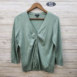 Talbots Sage Green Button Front Cardigan